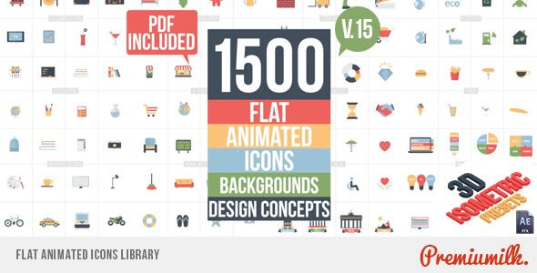 1500 Flat Animated Icons Library