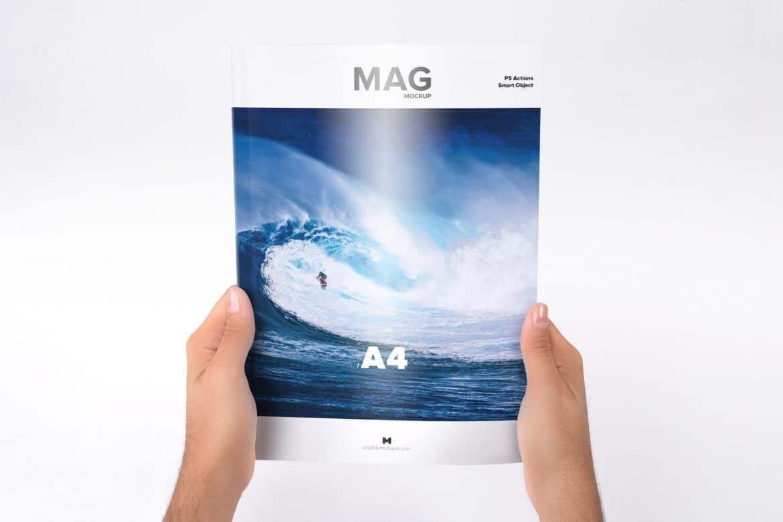 Mockup tay cầm Tạp chí A4