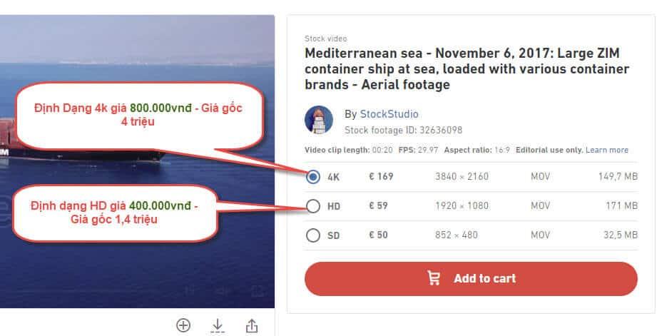 Giá dịch vụ muaVideo Shutterstock HD và 4K