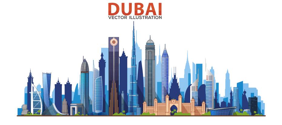 Vector Dubai và các tòa nhà cao tầng