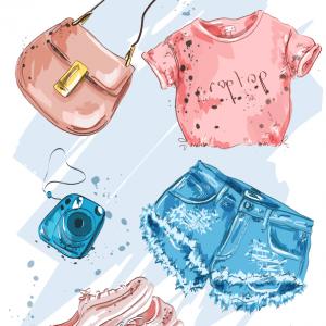Vector thời trang mùa hè