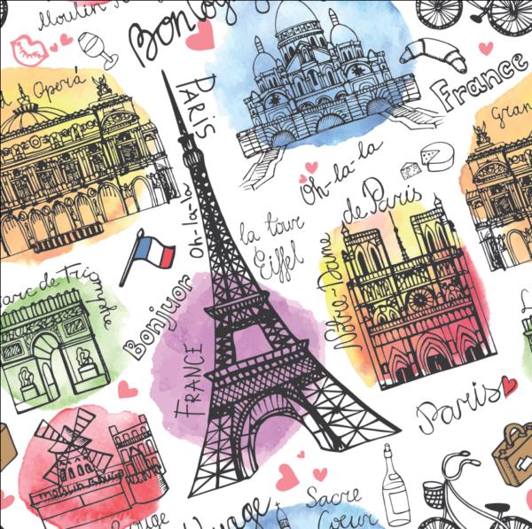 Vector nước Pháp vẽ tay và lời chào
