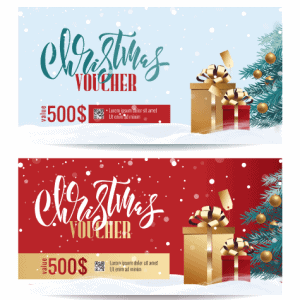 2 Vector Voucher Merry Christmas