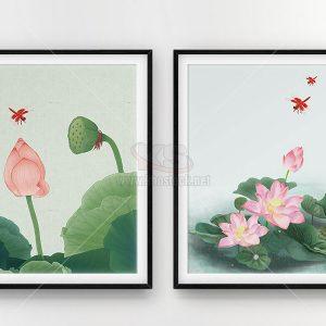 2 Bức tranh hoa Sen chất lượng cao - KS656