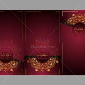 3 Background Mandala Vector màu đỏ - KS513