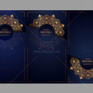 3 Background Mandala Vector màu xanh - KS512