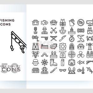 50 icons vector câu cá chất lượng cao - KS661