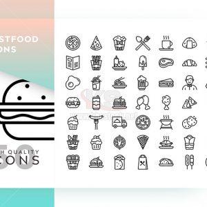 Bộ icons ẩm thực vector - KS573