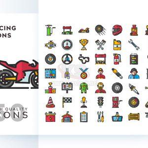 Bộ icons đua xe phong cách phẳng – KS578