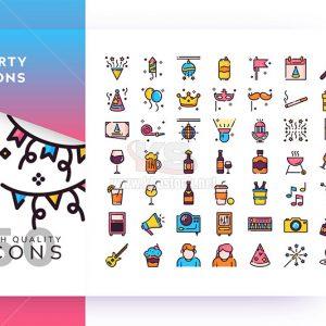Bộ icons party sắc màu - KS570