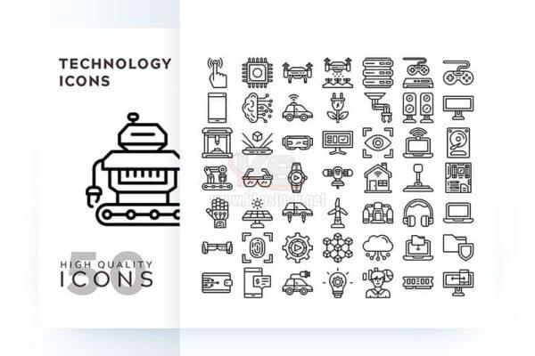 Bộ icons technology outline – KS582