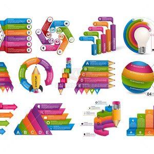 Bộ sưu tập infographics Vector cao cấp - KS587