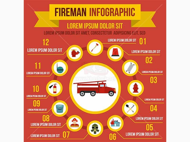 Infographic dụng cụ chữa cháy Vector - KS612