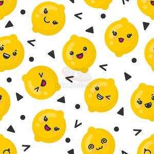 Patterns quả chanh mặt cười Vector - KS551