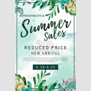 Poster PSD quảng cáo mùa hè màu xanh - KS642
