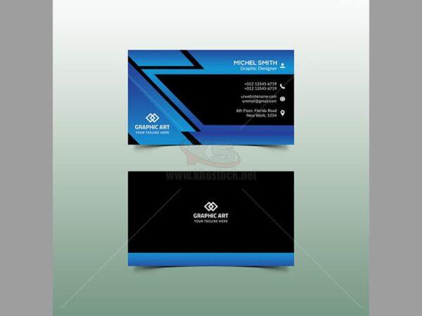 PSD Business Card màu xanh góc cạnh – KS556