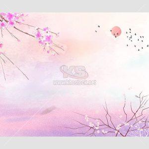 PSD Tranh hoa Đào màu hồng tuyệt đẹp - KS653