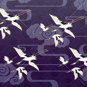 Tranh chim Hạc trên nền hoa văn màu tím - KS647