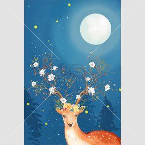 Tranh con hươu và ánh trăng - KS648