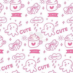 Vector Patterns Cute màu hồng - KS549