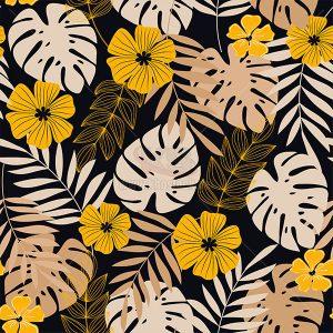 Vector Patterns lá cây miền nhiệt đới - KS547
