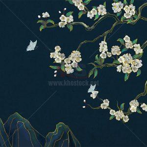 Tranh phong cảnh hoa lá nền tối - KS671