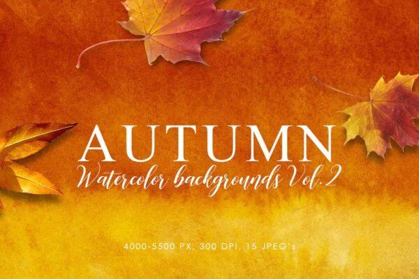 15 Backgrounds mùa thu màu nước - KS709