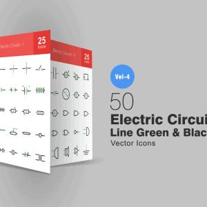 50 Vector Icons mạch điện xanh đen - KS732