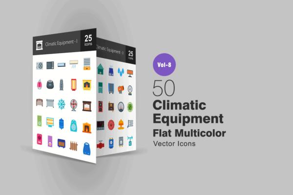 50 Vector Icons thiết bị và khí hậu - KS733