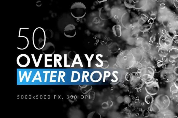 50 Water Drops Overlays - KS714