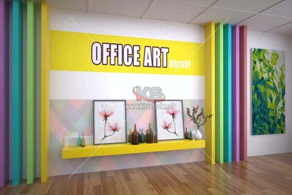 Mockup trang trí văn phòng PSD - KS725