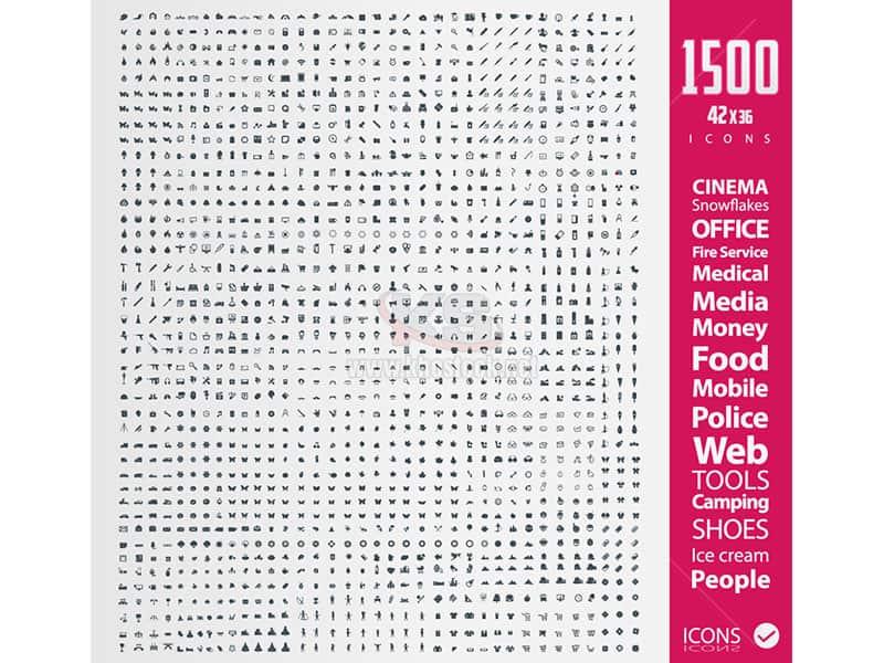 1500 icons đầy đủ ngành nghề Vector - KS789
