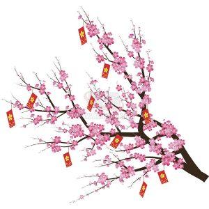 Cành hoa Đào nở với bao lì xì đỏ Vector - KS775