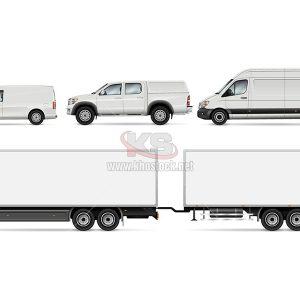 Mockup Xe Tải trắng Vector - KS827