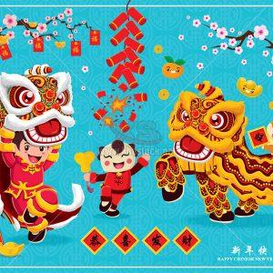 Poster múa lân ngày tết Vector - KS851