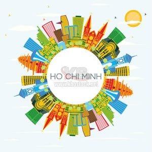 Ho Chi Minh Skyline with Color Buildings - KS855