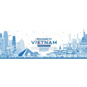 Vector Vietnam Skyline with Blue Buildings - KS868