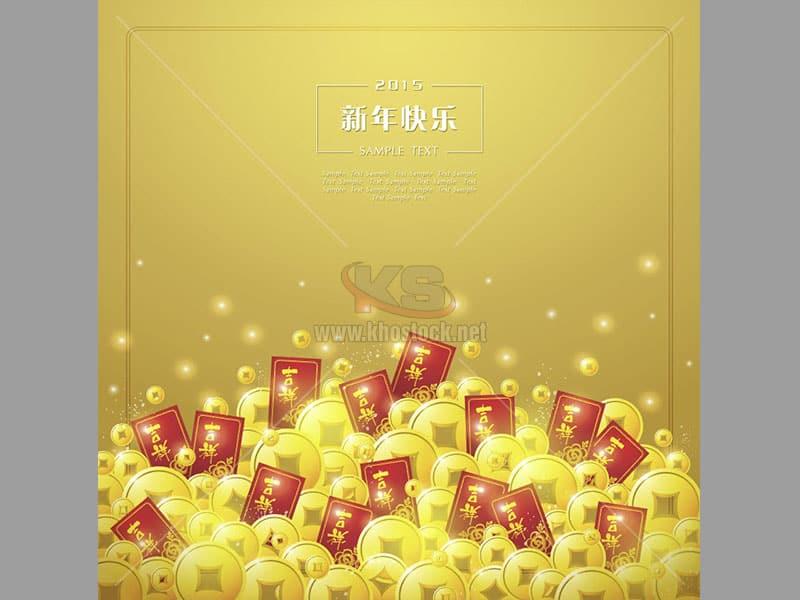 Vector đồng tiền vàng, bao lì xì - KS763