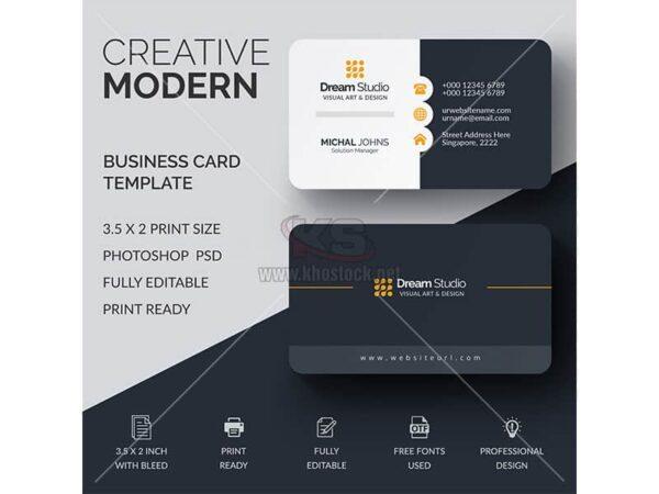 Card Visit PSD tông màu đen lịch lãm - KS942