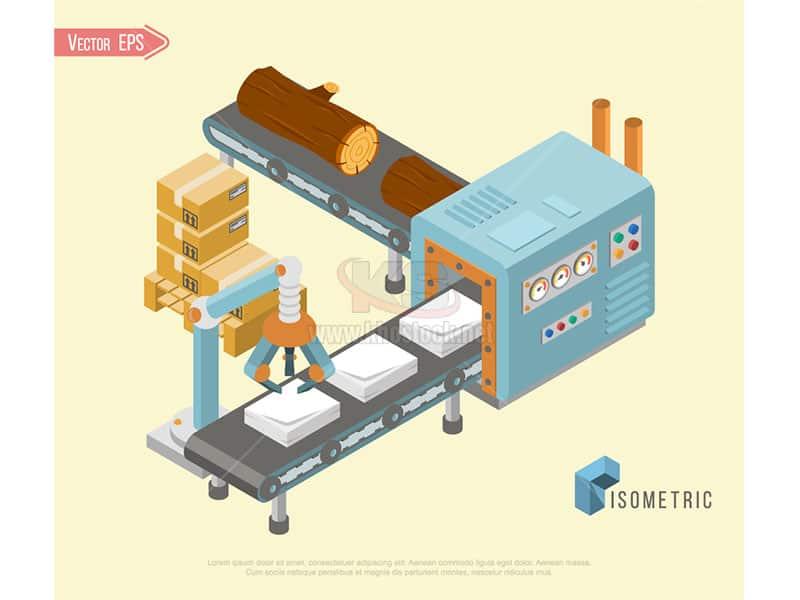 Sản xuất gỗ thành giấy Vector - KS948