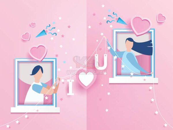 Vector cửa sổ tình yêu màu hồng - KS953