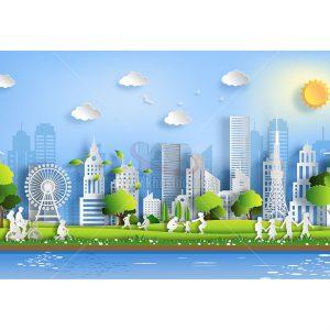 Vector cắt giấy thành phố tuyệt đẹp - KS958