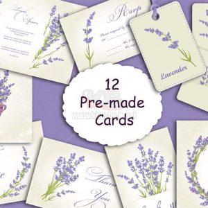 Lavender Backgrounds thiệp mời Vector - KS1031