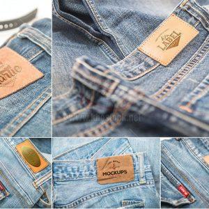 Mockup nhãn hiệu quần Jean PSD - KS993
