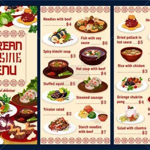 Menu nhà hàng kèm món ăn Vector - KS1078