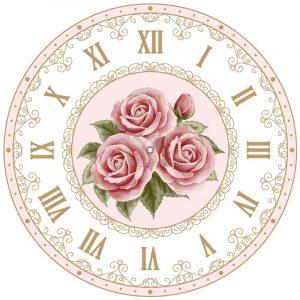 Vector mặt đồng hồ hoa hồng số la mã - KS1114