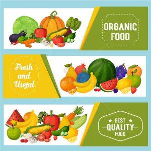 Banner trái cây, rau củ sạch Vector - KS1165
