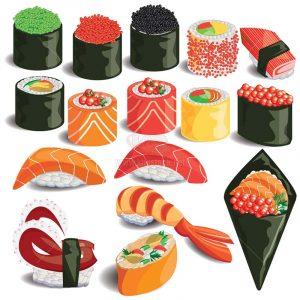 Vector Sushi tuyệt đẹp nhiều mẫu - KS1192