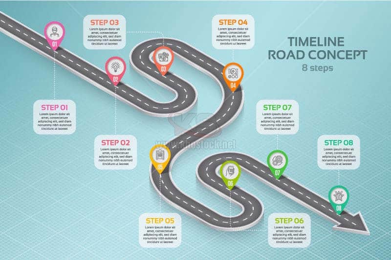Infographics Con Đường Vecotr - KS1035