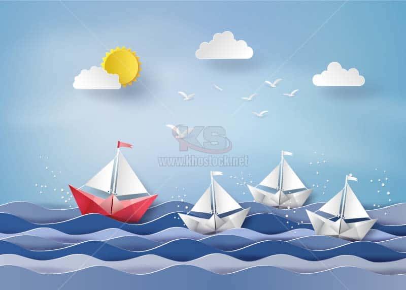 Vector thuyền và biển cắt giấy - KS1045